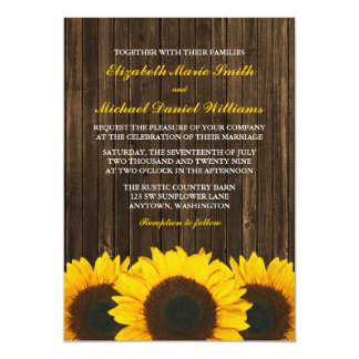 Sunflowers Barn Wood Wedding Card