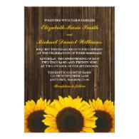 Sunflowers Barn Wood Wedding Custom Invites