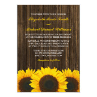 Sunflowers Barn Wood Wedding 5x7 Paper Invitation Card (<em>$2.16</em>)