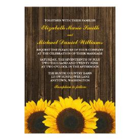 Sunflowers Barn Wood Wedding Invitations Custom Invite