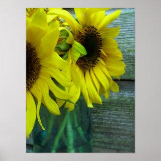 Sunflowers & Barnwood Poster