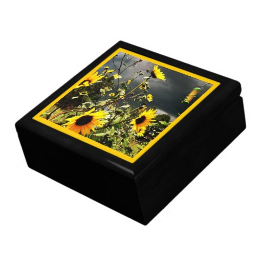 Sunflowers Before The Storm Clouds Photograph Trinket Boxes