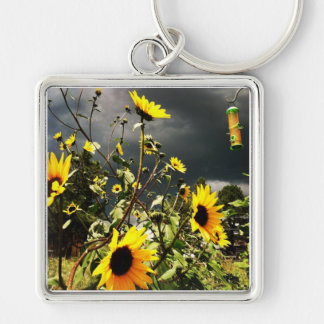 Sunflowers Before The Storm Clouds Photograph Keychain