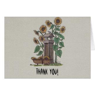 Sunflowers Birdfeeder & Blue Bird Card