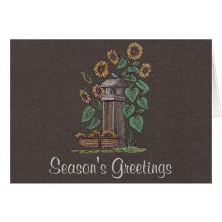 Sunflowers Birdfeeder Blue Bird Greeting Card