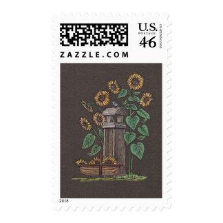 Sunflowers Birdfeeder Blue Bird Stamp