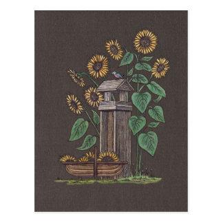 Sunflowers Birdfeeder & Blue Bird Postcard