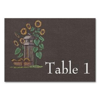 Sunflowers Birdfeeder Blue Bird Table Cards