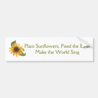 Sunflowers, Birds, Sing Bumper Sticker