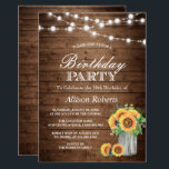 """Sunflowers Birthday Party Rustic String Lights Invitation<br><div class=""""desc"""">================= ABOUT THIS DESIGN ================= Sunflowers Birthday Party Rustic String Lights Invitations (1) For further customization, please click the """"Customize"""" button and use our design tool to modify this template. All text style, colors, sizes can be modified to fit your needs. (2) If you prefer thicker papers, you may consider...</div>"""