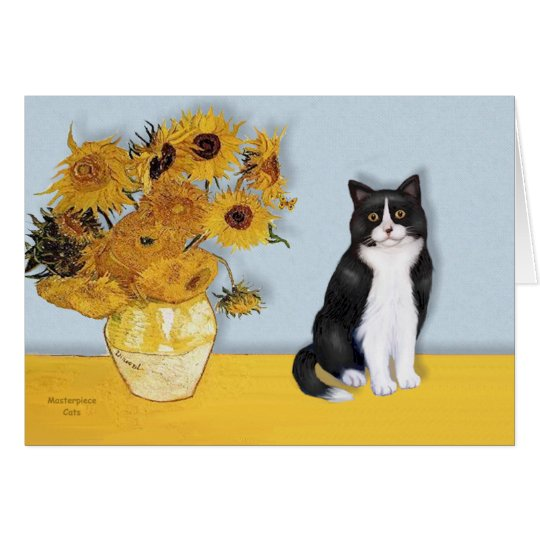 Sunflowers - Black and white cat Card