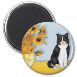 Sunflowers - Black and white cat 2 Inch Round Magnet