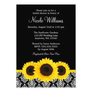 Sunflowers Black and White Damask Bridal Shower Card