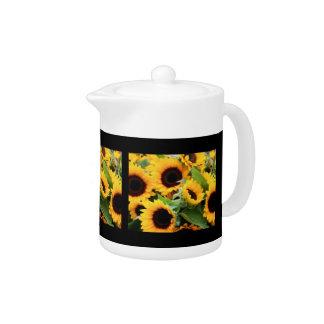 Sunflowers Black Border Tea Pot