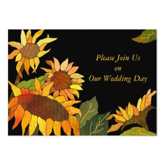 Sunflowers Black & Gold Wedding Invitations