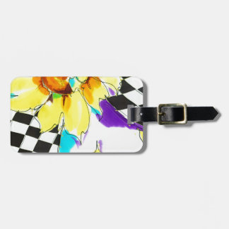 Sunflowers & Black with White Luggage Tags