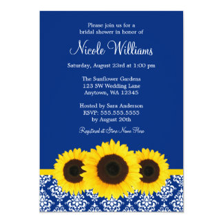 Sunflowers Blue and White Damask Bridal Shower Card