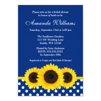Sunflowers Blue and White Polka Dot Bridal Shower Card
