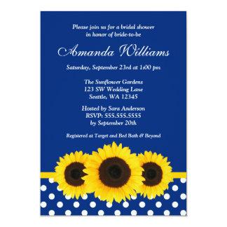 Sunflowers Blue and White Polka Dot Bridal Shower Card