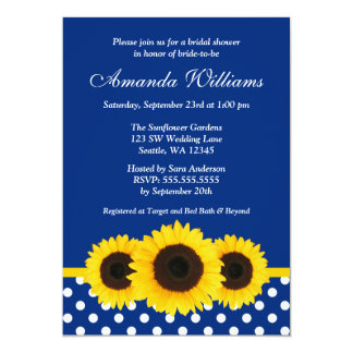 Sunflowers Blue and White Polka Dot Bridal Shower 5x7 Paper Invitation Card