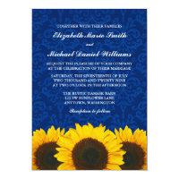 Sunflowers Blue Damask Wedding Card (<em>$2.01</em>)