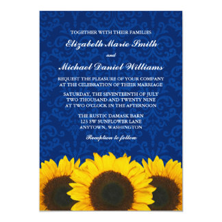 Sunflowers Blue Damask Wedding Card