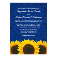 Sunflowers Blue Damask Wedding Personalized Announcement