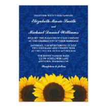 Sunflowers Blue Damask Wedding Invitation