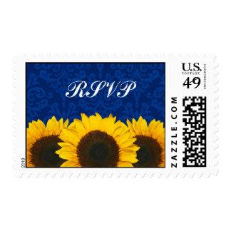 Sunflowers Blue Damask Wedding RSVP Postage