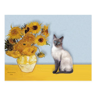 Sunflowers - Blue Point Siamese Post Cards