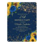 Sunflowers Blue Roses Gold Glitter 21st Birthday Invitation