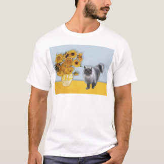 Sunflowers - Blue Smoke Persian cat T-Shirt