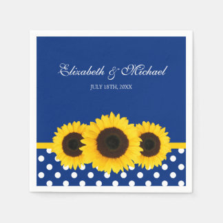 Sunflowers Blue White Polka Dot Wedding Paper Napkin