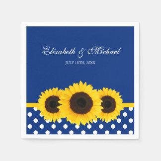 Sunflowers Blue White Polka Dot Wedding Paper Napkin