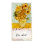 "Sunflowers Book Plate ""Ex Libris"" Custom Shipping Label"