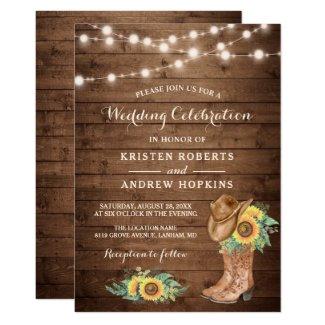 Sunflowers Boots String Lights Western Wedding Invitation