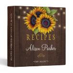 Sunflowers bouquet barn wood rustic recipes binder