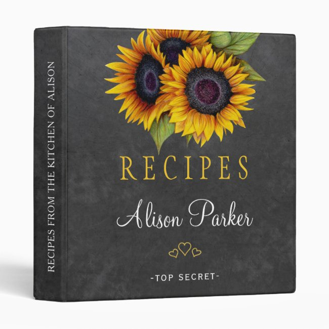 Sunflowers bouquet chalkboard rustic recipes binder