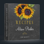 """Sunflowers bouquet chalkboard rustic recipes binder<br><div class=""""desc"""">Editable text recipes binder featuring rustic big sunflowers bouquets on a dark gray chalkboard background. Insert your text in the spots! This recipe book can be a beautiful gift for your own kitchen or a keepsake personalized gift for someone special,  anniversary,  birthday,  Christmas,  bridal shower or wedding gift.</div>"""