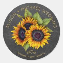 Sunflowers bouquet rustic chalkboard wedding classic round sticker