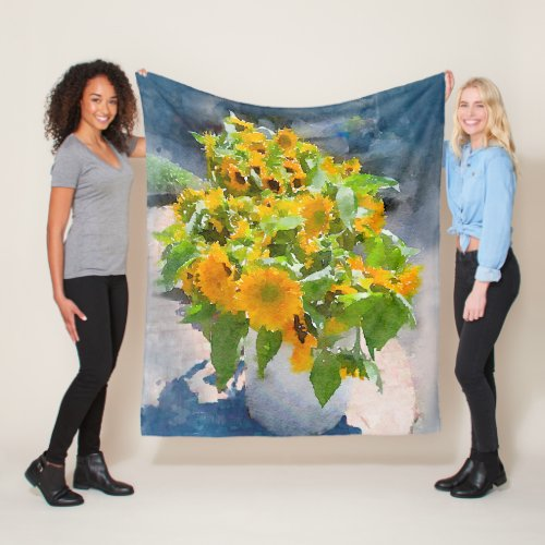 Sunflowers Bouquet Watercolor Fleece Blanket