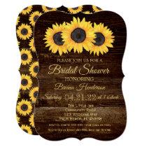 Sunflowers Bridal Shower Invitation Rustic Wood