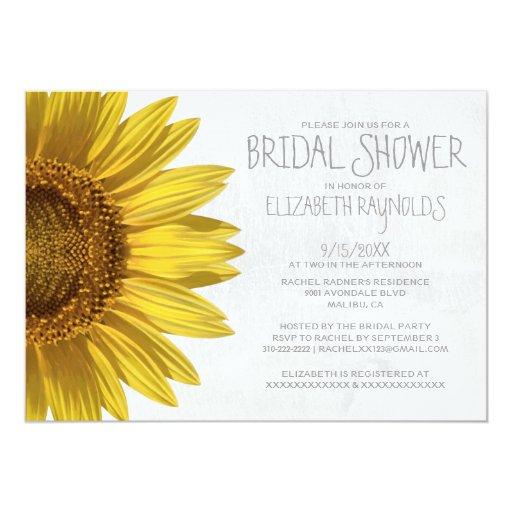 "Sunflowers Bridal Shower Invitations 5"" X 7"" Invitation Card"
