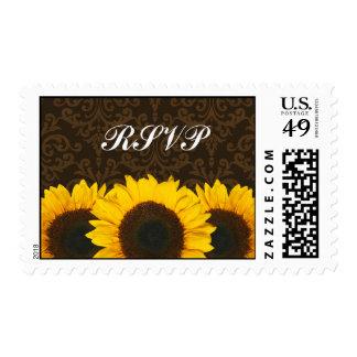 Sunflowers Brown Damask Wedding RSVP Stamp
