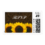 Sunflowers Brown Damask Wedding RSVP Stamps
