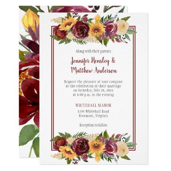 Sunflowers & Burgundy Floral Drop Burgundy Frame Invitation