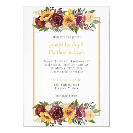 Sunflowers & Burgundy Floral Drop Gold Frame Invitation