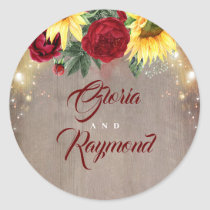 Sunflowers Burgundy Floral Rustic Fall Wedding Classic Round Sticker