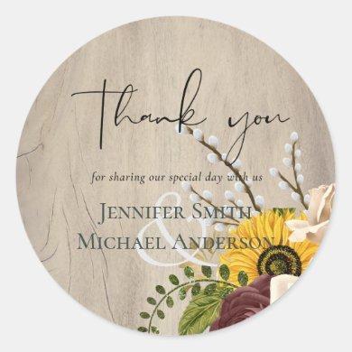 Sunflowers Burgundy Marsala Cheap Budget Wedding Classic Round Sticker