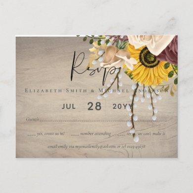 Sunflowers Burgundy Marsala Cheap Budget Wedding Postcard
